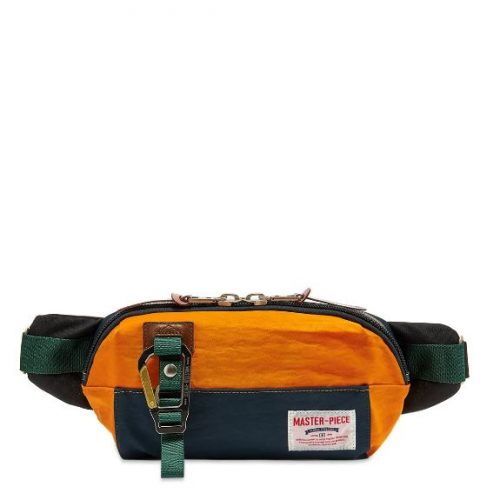 Mens Master-Piece Link Series Waist Bag in Navy & Orange