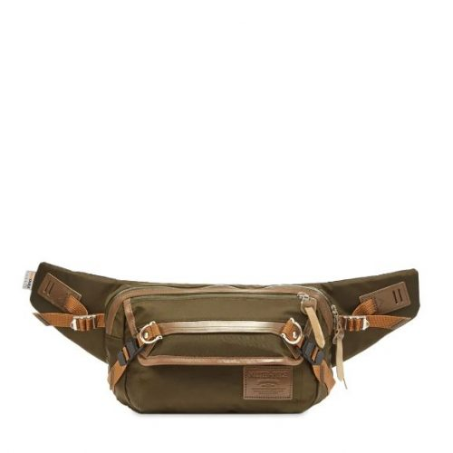 Mens Master-Piece Potential Leather Trim Waist Bag in Olive