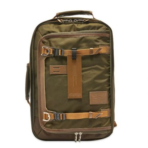 Mens Master-Piece Potential Leather Trip Backpack in Olive Green