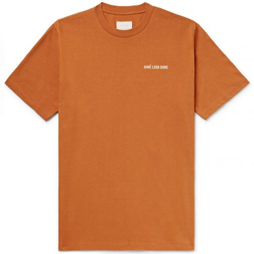 MensAime Leon Dore Logo-embroidered Cotton-jersey T-Shirt in Camel Brown