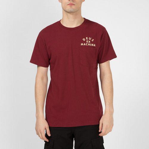 Mens Deus Ex Machina Camperdown Pocket T-Shirt in Sangria Red