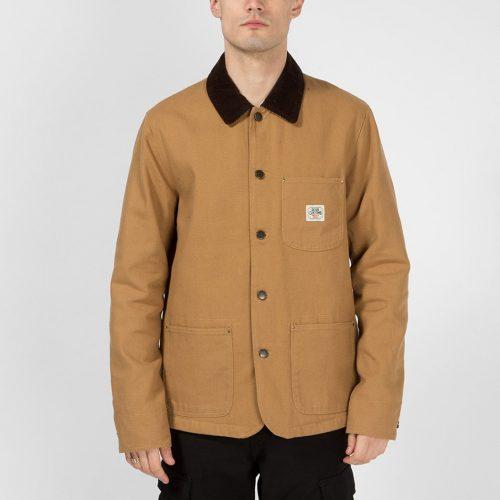 Mens Deus Ex Machina Hank Chore Shirt Coat in Driftwood Tan