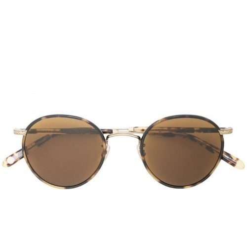 Mens Garrett Leight Wilson Round Frame Sunglasses in Brown Tortoiseshell Acetate