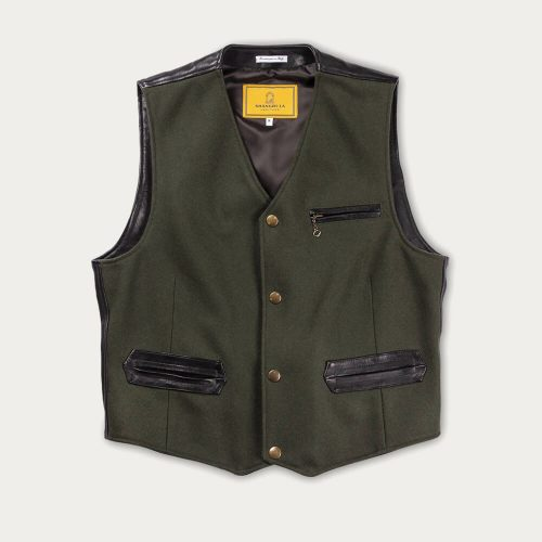 Mens Shangri-La Heritage Mandriano Wool Vest Jacket in Forest Green