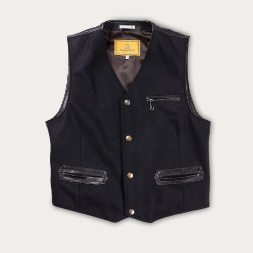 Mens Shangri-La Heritage Mandriano Wool Vest Jacket in Navy