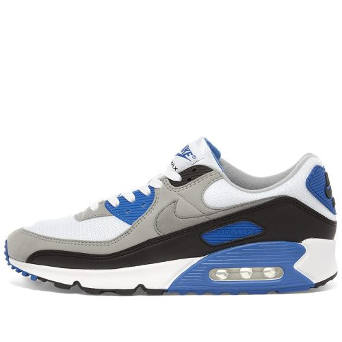Mens Nike Air Max 90 Trainers in White, Grey & Royal