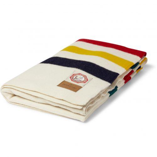 Mens Pendleton Woolen Mills Striped Wool Blanket Throw in White Multi