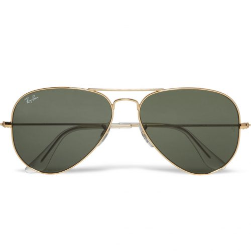 Mens Ray-Ban Aviator Silver-tone Sunglasses in Gold