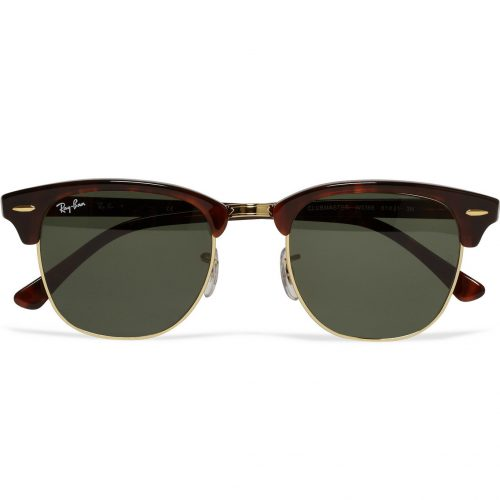 Mens Ray-Ban Clubmaster Acetate And Gold-tone Sunglasses in Tortoiseshell