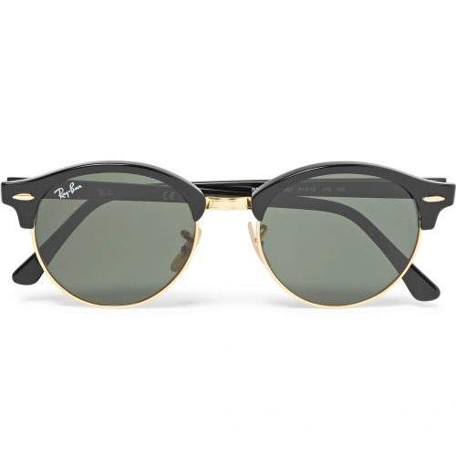 Mens Ray-Ban Clubmaster Round-frame Acetate And Gold-tone Polarised Sunglasses in Black