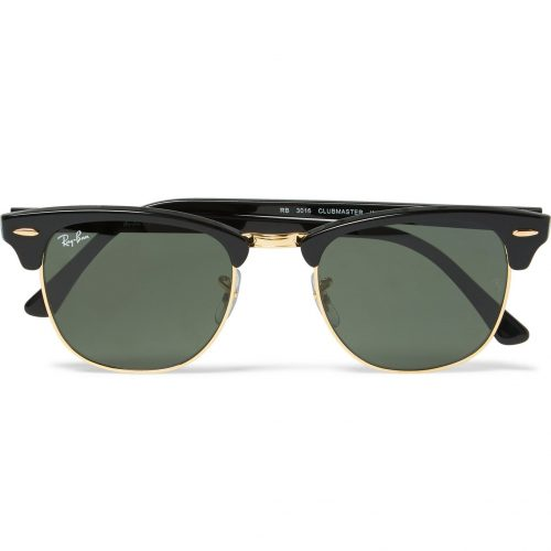 Mens Ray-Ban Clubmaster Square-frame Acetate And Gold-tone Sunglasses in Black