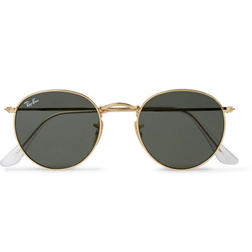 Mens Ray-Ban Round-frame Gold-tone Sunglasses in Gold