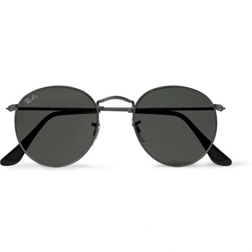Mens Ray-Ban Round-frame Gunmetal-tone Sunglasses in Metallic