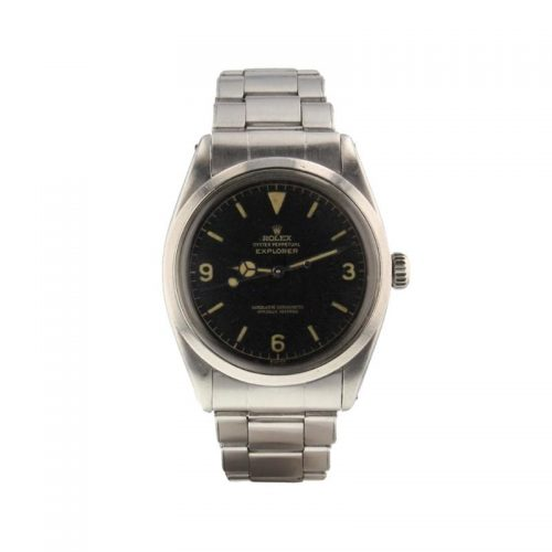 Mens Rolex 2001 Pre-owned Explorer 36mm Stainless Steel Watch in Black
