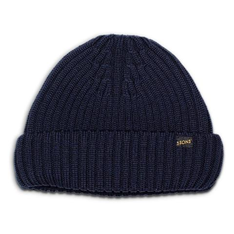 Mens &SONS Atlantic Watch Cap Wool Beanie in Classic Navy