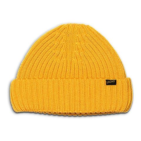 Mens &SONS Atlantic Watch Cap Wool Beanie in Yellow