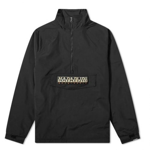 Mens Napapijri Astros Half Zip Popover Jacket in Black