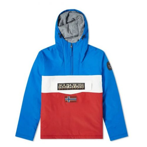 Mens Napapijri Block Panel Rainforest Anorak Jacket in Tricolour; Blue, Red & White