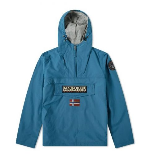 Mens Napapijri Rainforest Summer Anorak Jacket in Teal Blue