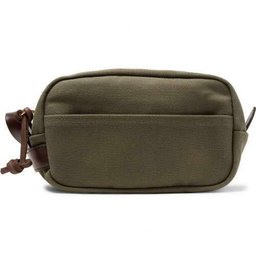Mens Filson Leather-trimmed Cotton-canvas Wash Bag in Green