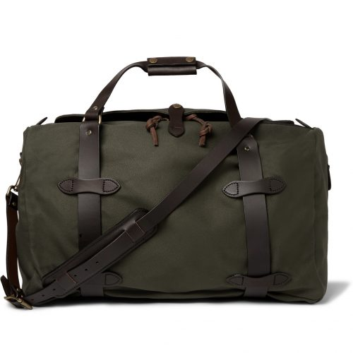 MensFilson Leather-trimmed Twill Duffle Bag in Green