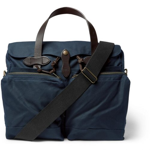 MensFilson Leather-trimmed Waxed Cotton-canvas Briefcase in Blue
