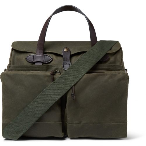 MensFilson Leather-trimmed Waxed Cotton-canvas 24-Hour Briefcase in Green