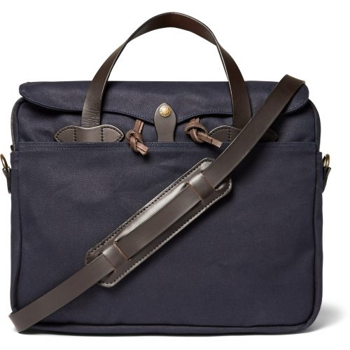 MensFilson Original Leather-trimmed Twill Briefcase in Blue