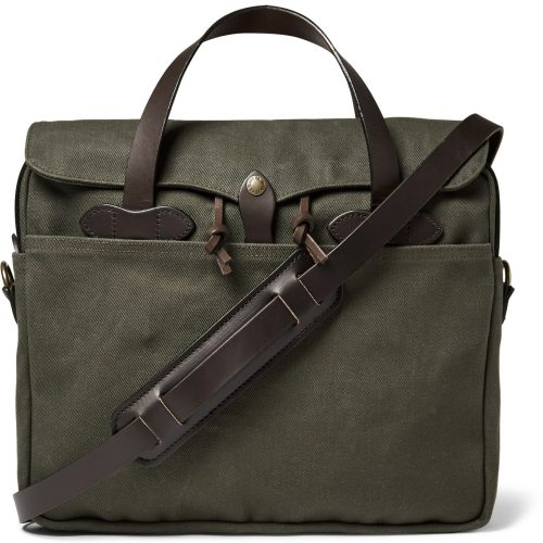 Mens Filson Original Leather-trimmed Twill Briefcase in Olive Green