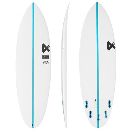 Mens Fourth Surfboards Chilli Bean Base Construction FCS II 5 Fin Surfboard in White & Blue