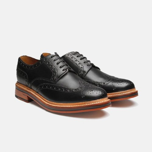 MensGrenson Archie Big Punch Brogue Shoes in Black Leather