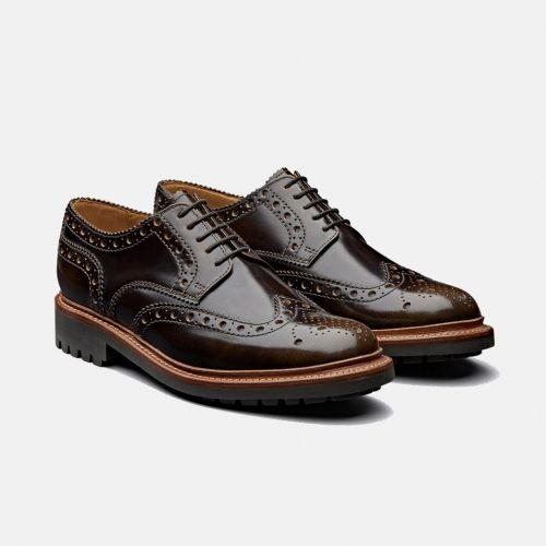 MensGrenson Archie Brogue Shoes in Pickled Walnut