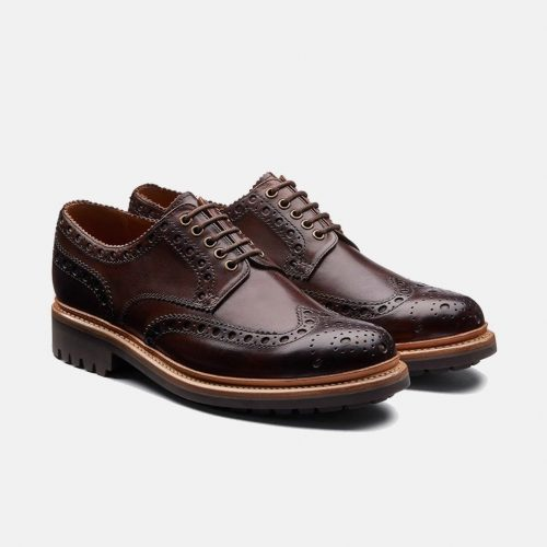 MensGrenson Archie Brogue Shoes in Dark Brown