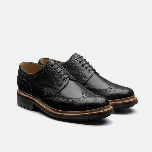 MensGrenson Archie Hand Painted Brogue Shoes in Black