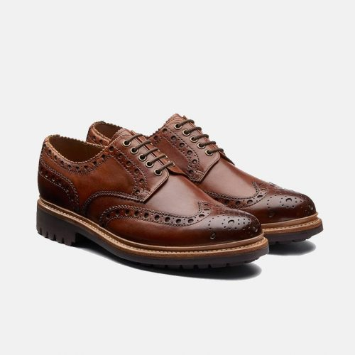 MensGrenson Archie Gibson Brogue Shoes in Tan Brown
