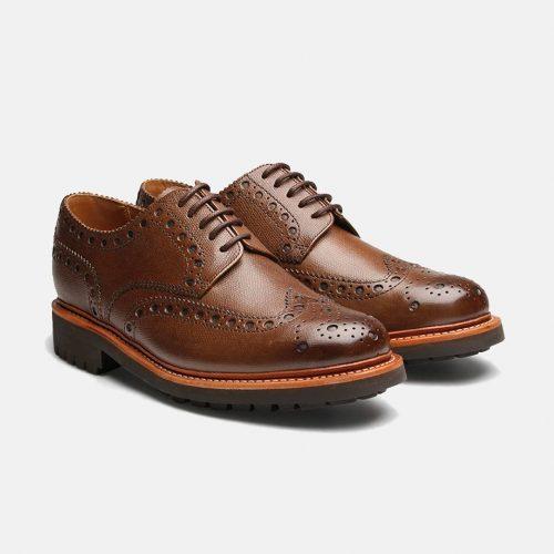MensGrenson Archie Commando Sole Brogue Shoes in Dark Brown