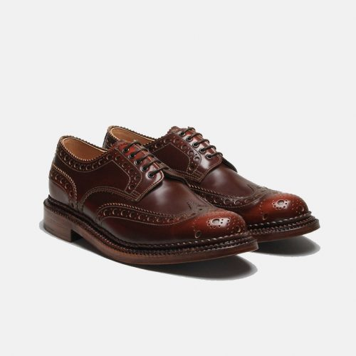 MensGrenson Archie Triple Welt Brogue Shoes in Mahogany