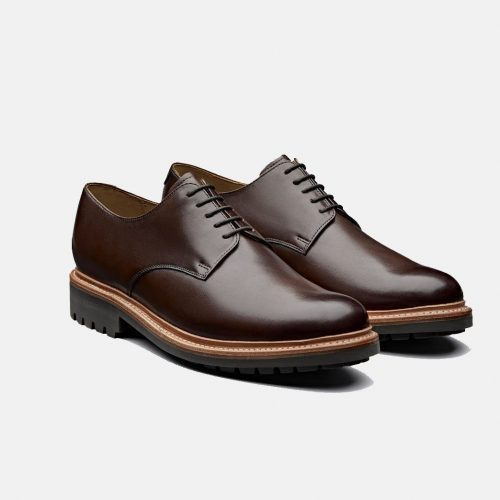 Mens Grenson Curt Derby Shoes in Dark Brown Leather