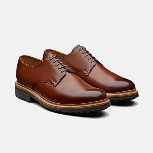 Mens Grenson Curt Hand Painted Leather Derby Shoes in Tan