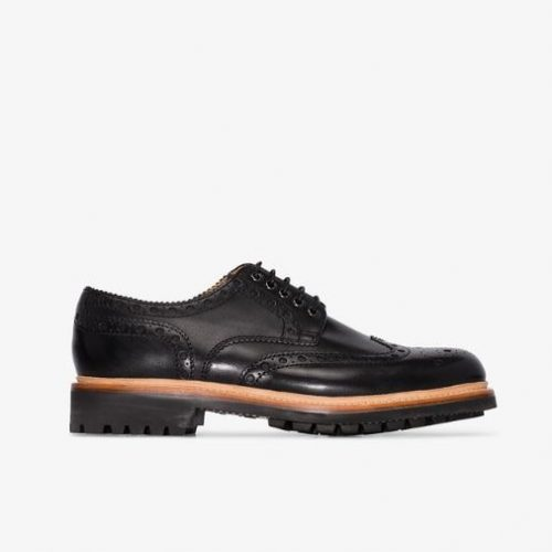 MensGrenson Archie Brogue Shoes in Black Leather