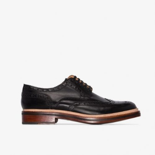 Mens Grenson Archie Brogue Shoes in Black Leather