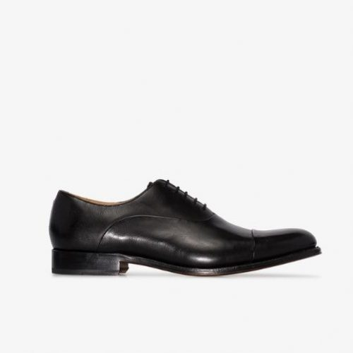 Mens Grenson Bert Oxford Shoes in Black Leather