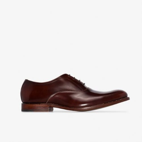 Mens Grenson Alwin Leather Oxford Shoes in Brown