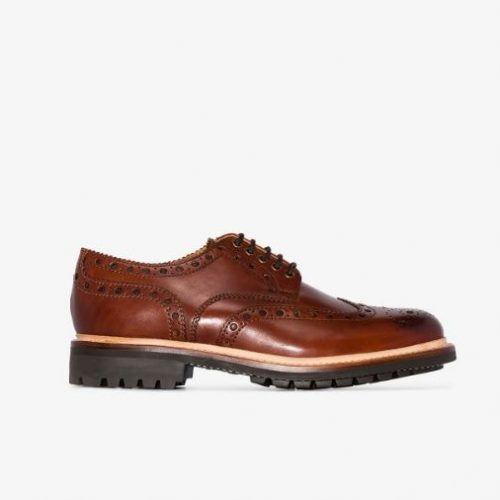 MensGrenson Archie Brogue Shoes in Chestnut Brown Leather