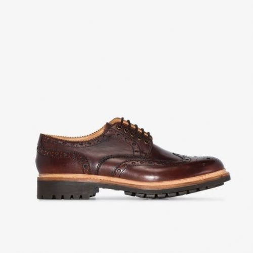 MensGrenson Archie Brogue Shoes in Brown Leather