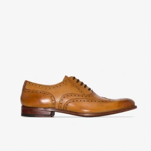 MensGrenson Dylan Hand Painted Brogue Shoes in Tan Brown Leather