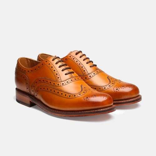 MensGrenson Stanley Calf Leather Brogue Shoes in Tan
