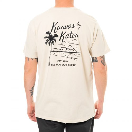 Mens Katin Vintage Beachside Short Sleeve T-Shirt in White Wool