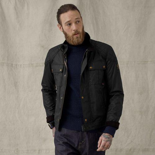 MensBelstaff Brookstone Waxed Jacket in Black