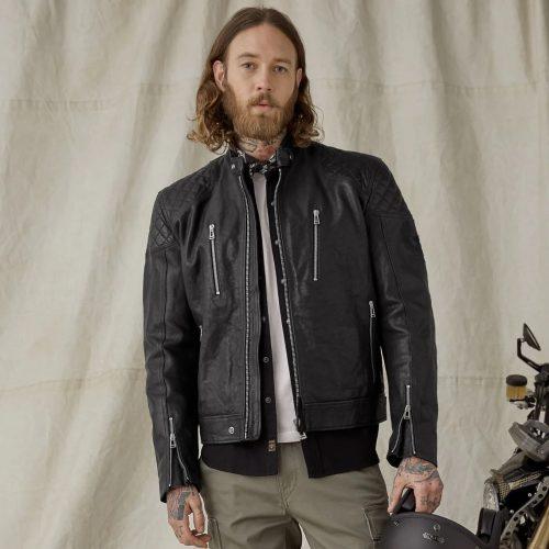 MensBelstaff Cheetham Motorcycle Jacket in Black Leather